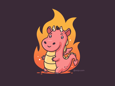 Dragon baby t-shirt illustration vector kawaii cute fire flames baby dragon