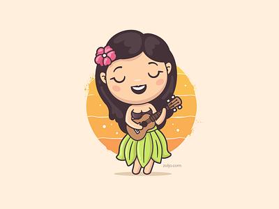 Hula Dancer ukulele vector illustration vacations hawaii tropical cute female dancer hula hula girl