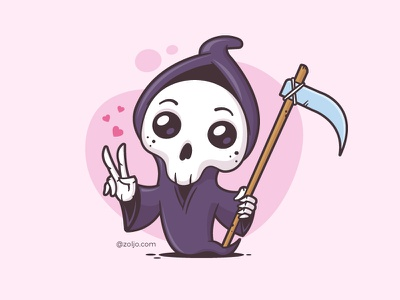 Grim Reaper kawaii character humor funny vector illustration cartoon sticker death grim reaper