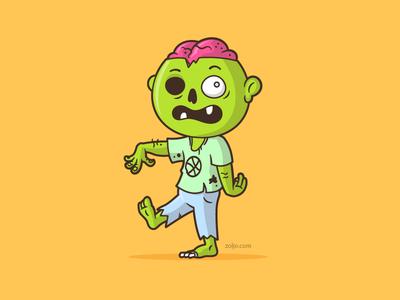 Zombie character mascot illustration vector cartoon monster halloween undead zombie
