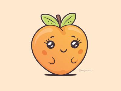 Kawaii Peach character cute mascot vector illustration cartoon kawaii emoticon emoji peach