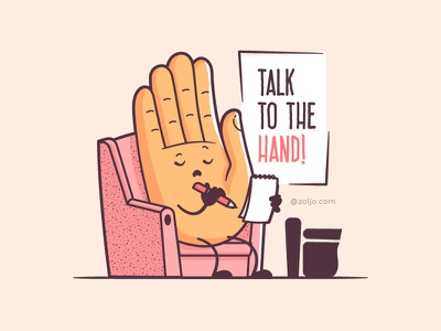 Talk To The Hand drawing character funny illustration vector cartoon therapy shrink hand talk to the hand