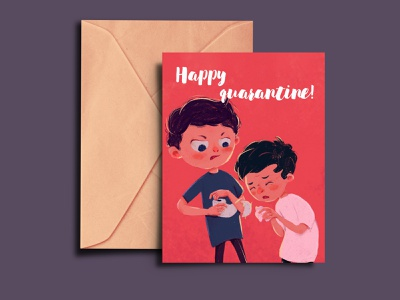 Happy quarantine light quarantine brothers boys postcard design red illustration