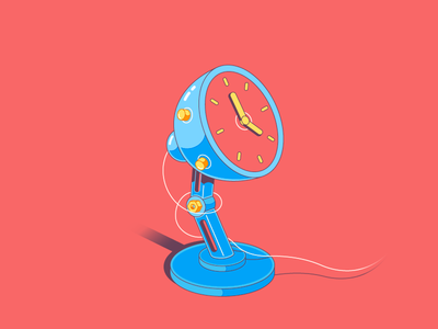 Desk clock- flat illustration