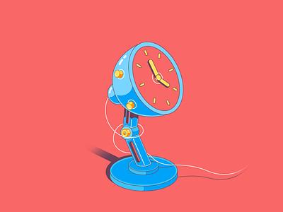 Desk clock- flat illustration flat wire vector table reading light clock lamp illustration flatdesign desk design