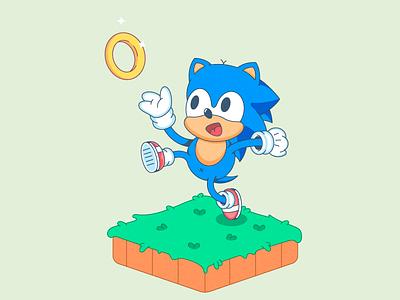 Sonic-character design flatdesign characterdesign cute illustration ring grass character design character vector illustration flat design cartoon sonic