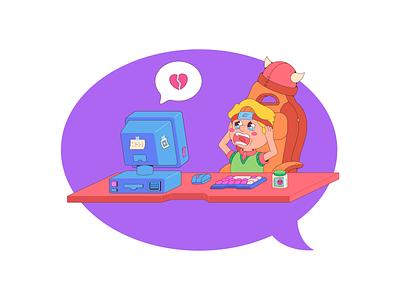 Geek computer heart cute character flat design cartoon illustration gamers geek