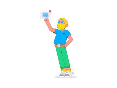 Message man icon message characterdesign flatdesign character flat vector design illustration cartoon