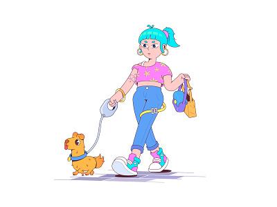walk character street walk dog tattoo fashion girl female character characterdesign vector flat design illustration cartoon