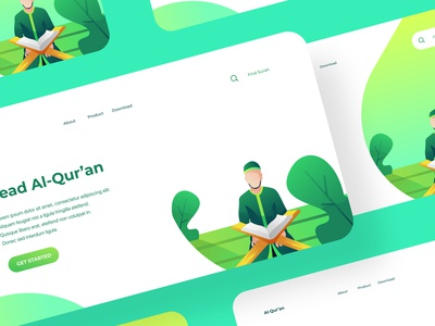 Read Al-Qur'an landing page concept by Ramadhany Creative