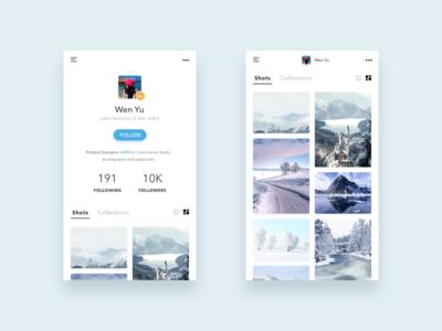 Daily UI #006 - User Profile card social photography profile user dailyui