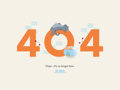Daily UI #008 - 404 Page error 404 page illustration fish bowl cat 404 dailyui