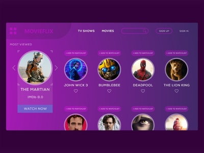 Movie website concept