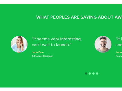 Feedback Section - Landing page
