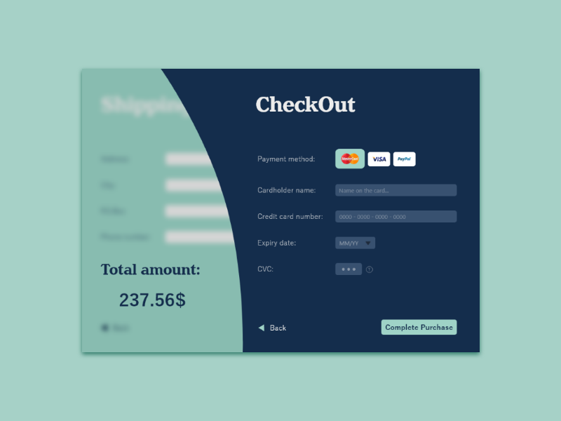 Credit Card Checkout creditcard checkout design dailyui 002