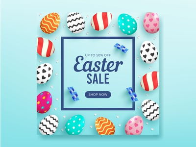 Easter sale background for Instagran Post with realistic eggs