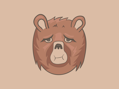 Chocolate Bear pouting illustration