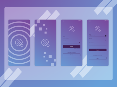 Blue purple concept for Splash, Sign in, and Sign up screen.