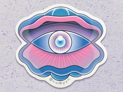 Eye see-shell / Die-Cut Waterproof Sticker
