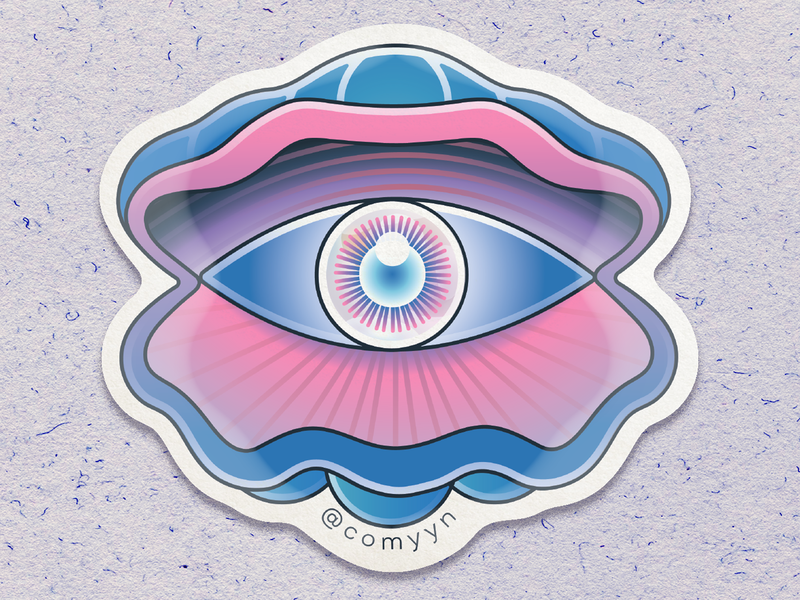 Eye see-shell / Die-Cut Waterproof Sticker sticker stickermule tame impala eye shell psychedelic art psychedelia psychedelic vector illustration illustration vector art