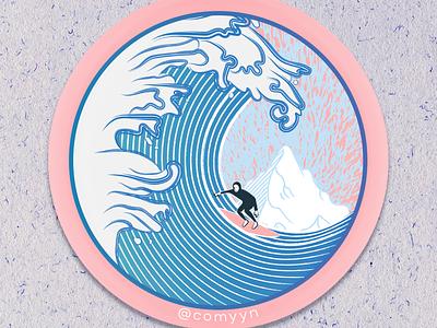 Arctic Surfer / Die-Cut Waterproof Sticker vector illustration vector art sticker mule sticker arctic surf surfing wave kanagawa ukiyoe illustration