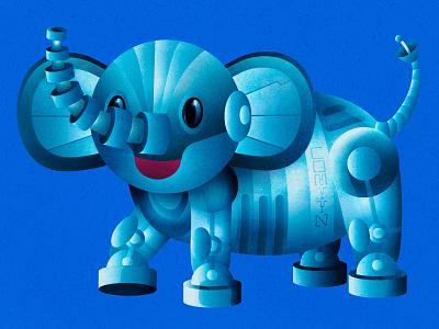 Robotic Elephant Kid retro future retro futurism vintage robotic vector art vector illustration illustration