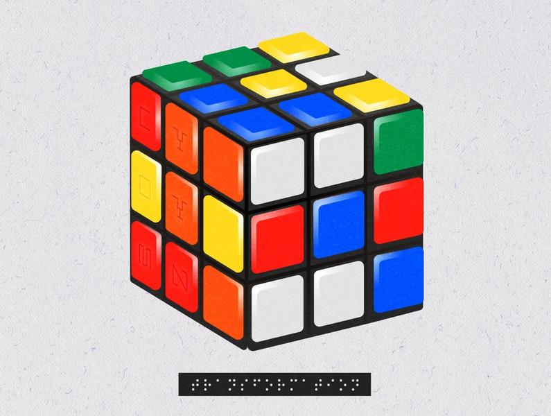 Transformational Stages in a Rubik's Cube: Stage I geometry geometric art education apparel design vintage vector art illustration vector illustration rubix cube rubiks cube rubik transformation