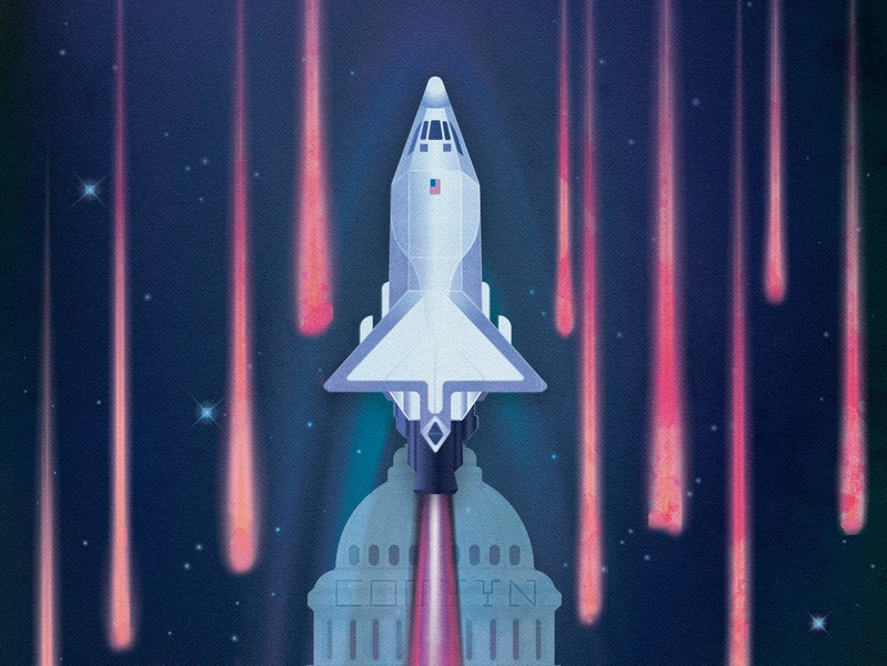 The artwork for SpaceNews - 'Space Force in for a rough ride' retro futurism space art space shuttle spacecraft states united states america force star meteors galaxy vintage vector art vector illustration usa new york times news nasa space