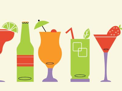 Summer Beverages summer illustration colorful