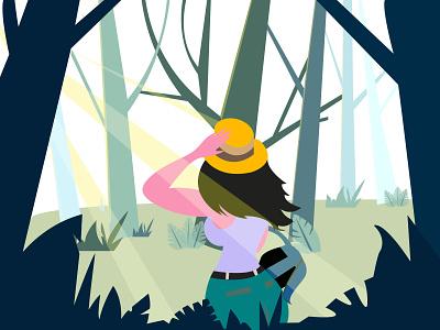 JungleGirl forest hat travel junglegirl flat flatillustration jungle falt charachter blue illustration girl