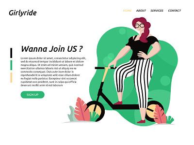 Girlyride girl ui header heroimage vector green falt flatillustration ride cute cycle scooter charachter art illustration illustrator