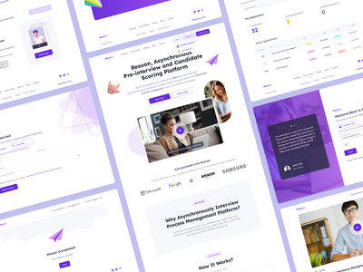 Resuon | Pre-interview and Candidate Scoring Platform purple datatable completed signup login innerpage interview recruitment landing webdesign web clean ui ui ux design