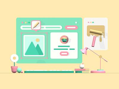 3D Web Illustration uidesign ui geometric render splinetool design pastel illustration webdesign web modelling 3d