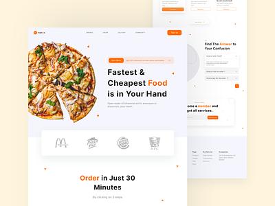 Fudiess - Food delivery popular food delivery food design ux ui figma clean illustration landing page website web minimal
