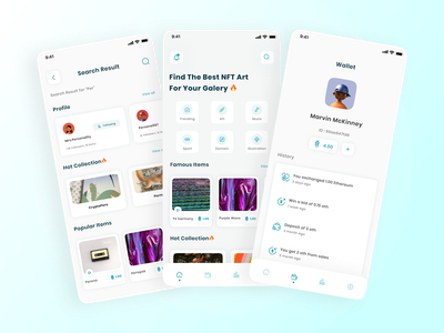 Noce - Dashboard, Wallet & search app mobile ui app uiux ux ui cryptocurrency crypto currency token bitcoin eth ethereum bidding music sport illustration nft art auction