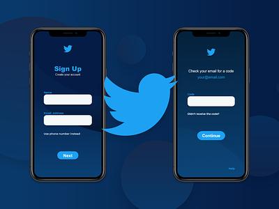 Twitter App Sign Up #DailyUI twitter design twitter web design twitter ux twitter app ui twitter kacperdzn kacper skibicki kacper icon web app minimal website ux ui vector illustration design