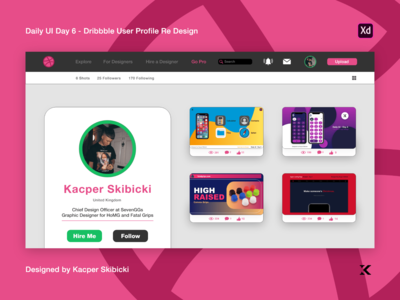 Daily UI 6 — Dribbble User Profile Redesign