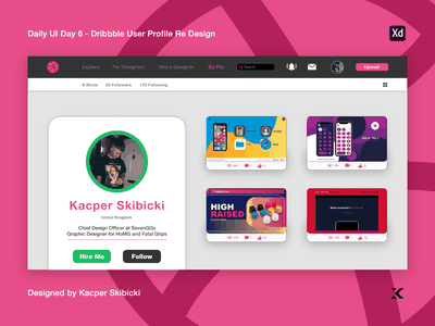 Daily UI 6 — Dribbble User Profile Redesign kacper skibicki graphic design pc computer mac windows grey purple pink ux adobexd website app dribbble redesign redesign uidesign ui  ux uiux ui dribbble