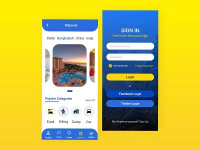 Travel app Signin and discover screen ui  ux app interface uiux ui designs design app ui design ux design app design ux traveller travel app app ui ui design ui