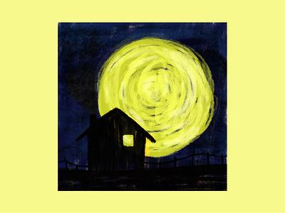 Guarda che luna star night house full moon moon design digital drawing magazine editorial digitalart illustration