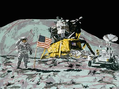 Moon Landing usa digitalart digital exploration editor magazine illustration apollo11 discovery astronaut nasa space moon