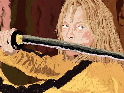 Beatrix Kiddo movieart yellow katana blood beatrix quentintarantino umathurman killbill drawing editorial magazine digitalart illustration