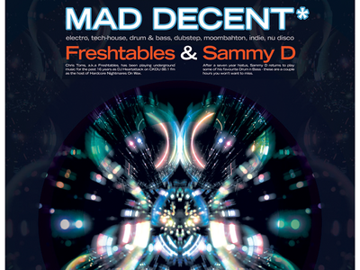 MAD DECENT - monthly DJ night event poster mad decent chris toms freshtables djs event branding event poster design poster art posters poster