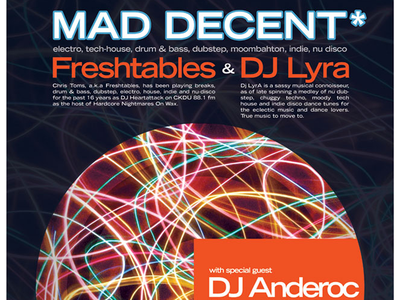 MAD DECENT - monthly DJ night event poster chris toms freshtables djs event branding event poster design poster art posters poster