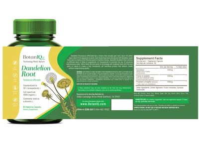 BotanIQ Product Packaging Labels - Dandelion Root