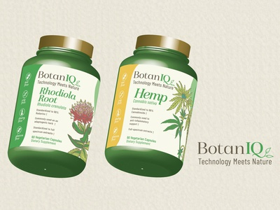 Botaniq  - 3d Package Mockup - Rhodiola Root and Hemp Root products product design package mockup package design brand identity brand design brand art direction 3d design