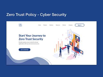 Zero Trust Policy - Cyber Security Web Banner illustration ui ux landing page web design zero trust policy cybersecurity