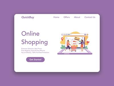 Online Shopping - Landing Page sketchapp abode illustrator design ux ui landing page online shopping ecommerce design