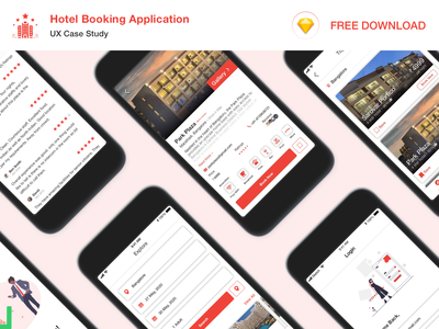Hotel Booking Application - UX Case Study (Free Download) design case study ux ui application ui sketchapp sketch freebie hotel booking booking app hotel app