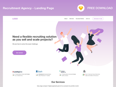 Recruitment Agency_Landing Page design ui free download sketch freebie freebie web design recruitment landing page design landing page recruitment agency